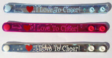 12 pcs Cheerleader Bracelets I Love To Cheer 3 Colors Cheering Wristbands
