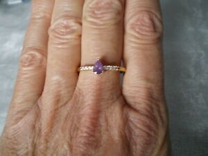 Purple Sapphire & Zircon ring, size R/S, 0.68 carats, 1.8 grams 10K Yellow Gold
