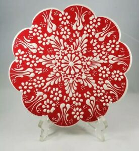 Trivet Turkish Handmade Ceramic Kitchen Hot Plate Red and White Floral  Unmarked