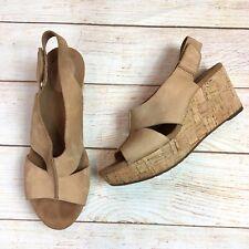 Clarks Womens 10M Caslynn Lizzie Nubuck Leather Wedge Cork Sandals Beige/Nude