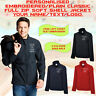 Personalised Embroidered Classic Full Zip Soft Shell Jacket Unisex Waterproof