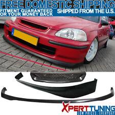 Fits 1999-2000 Honda Civic EK 3Dr Front + Rear Bumper Lip + T-R Front Hood Grill
