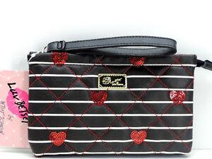 Betsey Johnson Luv Betsey Wristlet Clutch Handbag Black White Red New!