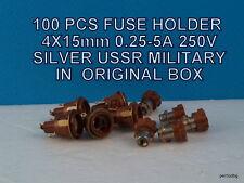 100PCS FUSE HOLDER 4X15mm 0.25-5A 250V SILVER USSR MILITARY  AUDIO ORIGINAL BOX