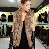 Winter Luxus echte Kaninchen Fell Pelz Weste Jacke Braun Grau Schwarz S-3X DT50