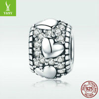 Fine S925 Sterling Silver Charm Bead Bright Heart with CZ Jewelry For Bracelet
