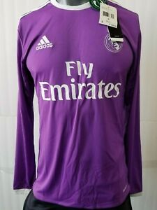 adidas Real Madrid Away Long sleeve Men's Jersey 16-17 Purple