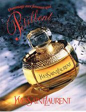 PUBLICITE ADVERTISING 104 1995  YVES SAINT LAURENT  parfum EN HOMMAGE DES FEMMES