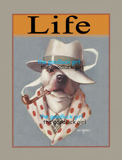 PIPE SMOKING BULL DOG 8x10 Vintage Life magazine cover Art print Will Rannells