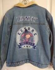 Disney Blue Jean Denim Jacket Eeyore XL Faux Fur Lining