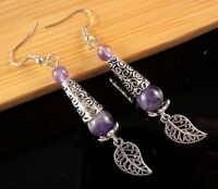 Natural Amethyst Gemstone Dangle Earrings with Tibetan Style Leaf # B159