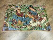 1930s Vegdye Antique Pictoral Esfahann Omar Khayyam 2.2x3.3 Estate Sale Rug