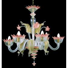 Lustre en verre de Murano 6 lumières  cristal or et améthyste