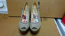 "ED HARDY WOMENS VINTAGE CLOTH UPPER  4 1/2""HEEL SIZE 7 NEEDS CLEANING"