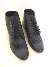 Topshop Black Leather Kiltie Fringe Ankle Shoes Sz 38 UK 5 Steampunk Victorian
