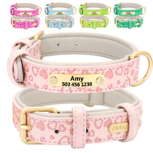Soft Leather Pet Dog Personalized Collars ID Name Tags Engraved Small Large Dogs