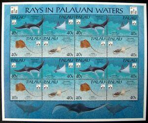 1994 MNH WWF PALAU MANTA RAY STAMPS SHEET RAYS PALAUAN WATERS SEA MARINE OCEAN