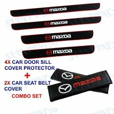 X4 Black Rubber Car Door Scuff Sill Cover Panel Step Protector COMBO For Mazda