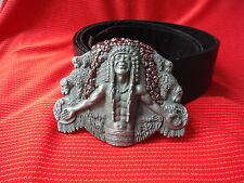 3D NATIVE AMERICAN RED INDIAN CHIEF MEDICINE MAN COWBOY BUCKLE & LEATHER BELT