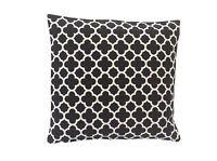Retro black & white/natural geometric design cotton canvas fabric cushion cover