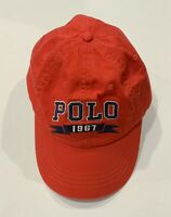 Ralph Lauren POLO 1967 Banner Logo Red Cotton Twill Baseball Cap Hat OS NWT 🔥