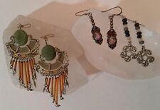 Lot VTG Dangle Earrings 925 Silver Amethyst Aventurine Stone Pewter Celtic Boho