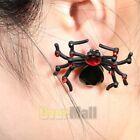 2 Pcs Spider Earrings Jewelry Plastic Stud Black Funny Decoration 3D Realistic