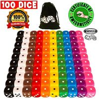 100 Assorted Dice, 10 Different Colors, 10 Dice Of Each Color, 16mm Tenzi etc