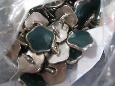NEW (8 Pieces) Shamrock Aqua Enamel Colored Buttons Metal with a Silver Back