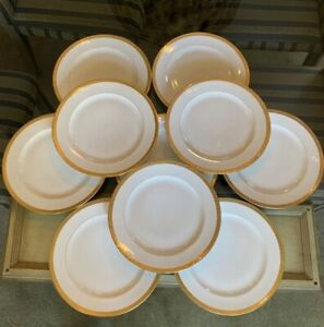 Charles C Ahrenfeldt Limoges Dinner Plates White & Gold, Set Of 10