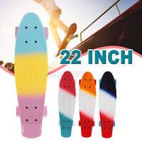 """22"""" Mini Cruiser Skateboard Long Board Banana Board Trick Skating Kids Boy"""