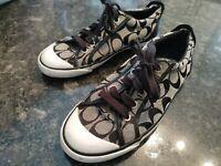 COACH Womens 7 1/5 B Barrett Black Gray Canvas Sneakers Shoes