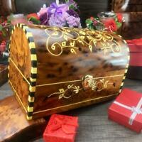 Trinket hand carved wooden box, birthday gift burl thuya wooden Mexican coffer