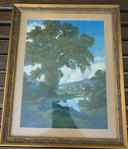 ORIGINAL PEACEFUL VALLEY MAXFIELD PARRISH ANTIQUE LITHOGRAPH PRINT FRAMED 11x14