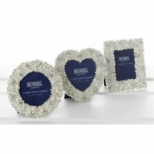 Set of 3 Polished Silver Coral Diamante Mini Photo Frames