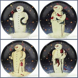 "Certified International TWILIGHT SNOWMAN 8"" Salad Plate Set 4P Baxter Gold Stars"