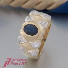 Safir-Ring mit 1 Saphir & 24 Diamanten ges. ca. 0,18ct - 14K/585 Gelbgold