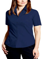 Womens Navy Shirt Plus Size 16 18 20 22 Blue Blouse shirt sleeve easy care work
