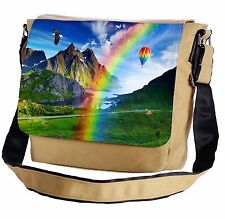 Rainbow Over The Mountain Valley Messenger Cross-Body Shoulder Flap Bag