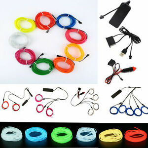 1-5M Car LED Atmosphere EL Wire String Light Neon Strip Rope Lamp Auto parts
