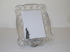 WATERFORD Crystal Scalloped Frame With Pewter-Like Rabbit Corner Design
