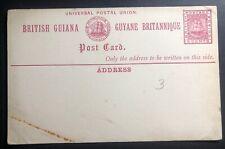 Mint British Guiana Postal Stationary Postcard 3 Cents UPU