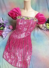 VINTAGE I Magnin DESIGNER dress PINK SEQUINS embroidery SILK draped sleeves