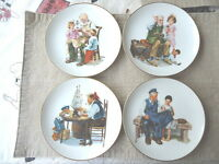 """Vintage Set Of 4 1984 Norman Rockwell 6 1/2 Inch Authentic Certified Plates""""RARE"""