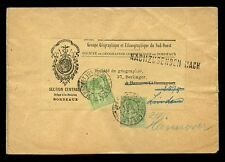 FRANCE GEOGRAPHICAL SOCIETY BORDEAUX LABEL 1910 to GERMANY FORWARDED HANOVER