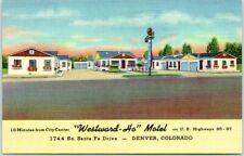 1940s Denver, Colorado Postcard WESTWARD-HO MOTEL Highway 85 Roadside Linen