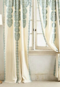 *Please Read* 4 PreOwned Anthropologie Boho Marrakech Teal Embroidered Curtains