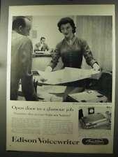 1956 Thomas A. Edison Voicewriter Ad - Glamour Job