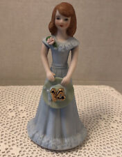 "Enesco ""Growing Up� Birthday Girls Figurine / Brunette Age 14 Blue Dress"
