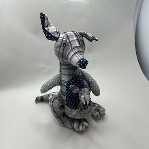 kangaroo stuffed animal teddy toy plush patchwork grey pink white  gift upright